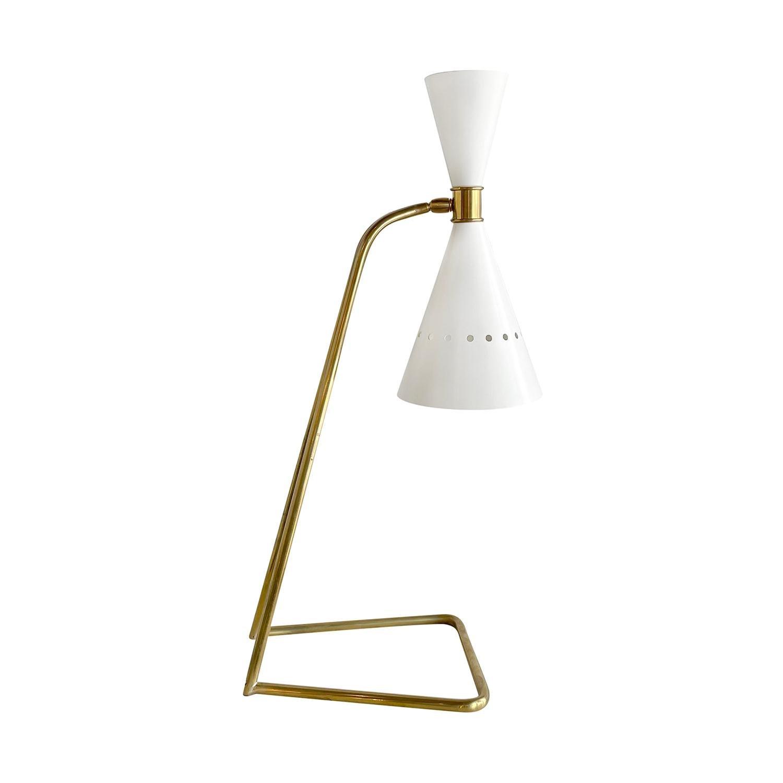 20th Century White Italian Brass Table, Desk Lamp in the Style of Stilnovo