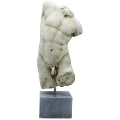 20th Century White Marble Italian Sculpture Torso of Apollo by Giancarlo Pace