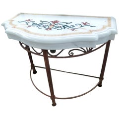 20th Century White Marble Spanish Console