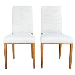 20th Century White Swedish Pair of Birchwood Dining Chairs by Carl Malmsten