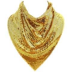 "20th Century Whiting & Davis Gold Plate Metal Mesh Collar ""Bib"" Necklace-Signed"