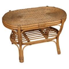 20th Century Wicker and Wood Italian Design Coffee Table, 1960