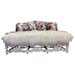 20th Century William & Mary Style Arched Back Sofa Highly Carved Front Stretcher