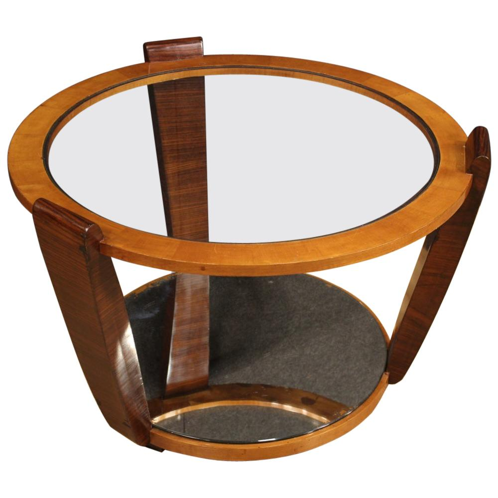 20th Century Wood and Glass Italian Design Round Coffee Table, 1960