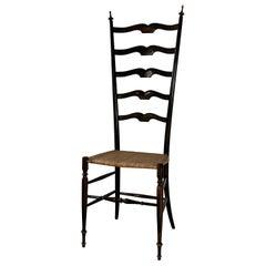 20th Century Wood and Rattan Chiavari High Back Chair by Paolo Buffa, 1950s