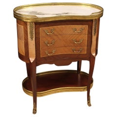 20th Century Wood Bronze Brass and Marble-Top French Side Table, 1960