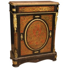 20th Century Wood, Gilt Bronze and Brass with Marble Top French Boulle Sideboard