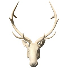 20th Century Wooden Deer Head, Beautiful Custom White Finish
