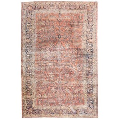 20th Century Wool Rug, American Saroug, Leaves and Branches Intertwined