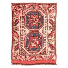 20th Century Wool Rug, Anatolia Geometric Design, circa 1940