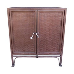20th Century Woven Iron Two-Door Cabinet
