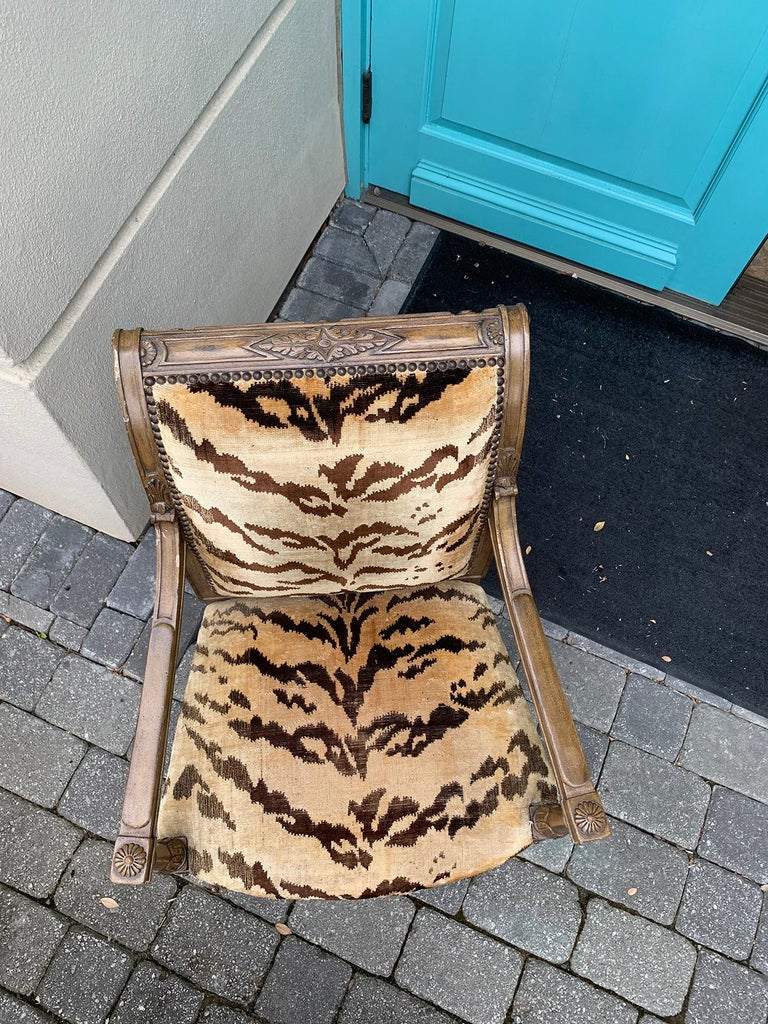20th Century Yale Burge Directoire Style Carved Armchair with Tiger Upholstery 7
