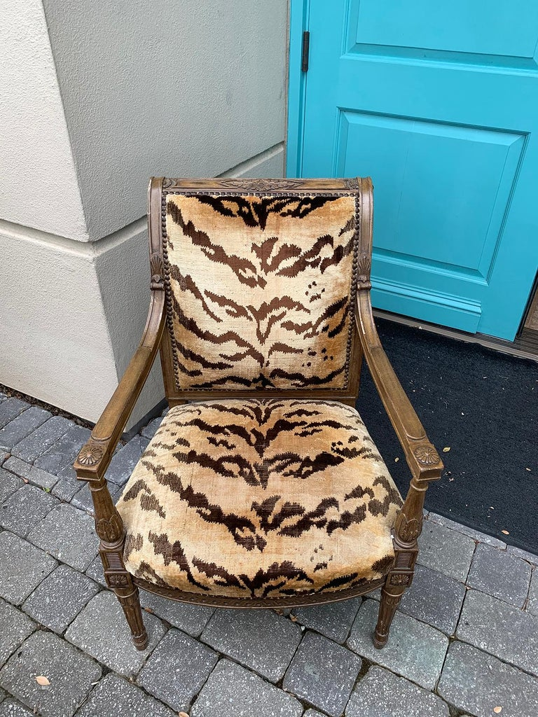 20th Century Yale Burge Directoire Style Carved Armchair with Tiger Upholstery 15