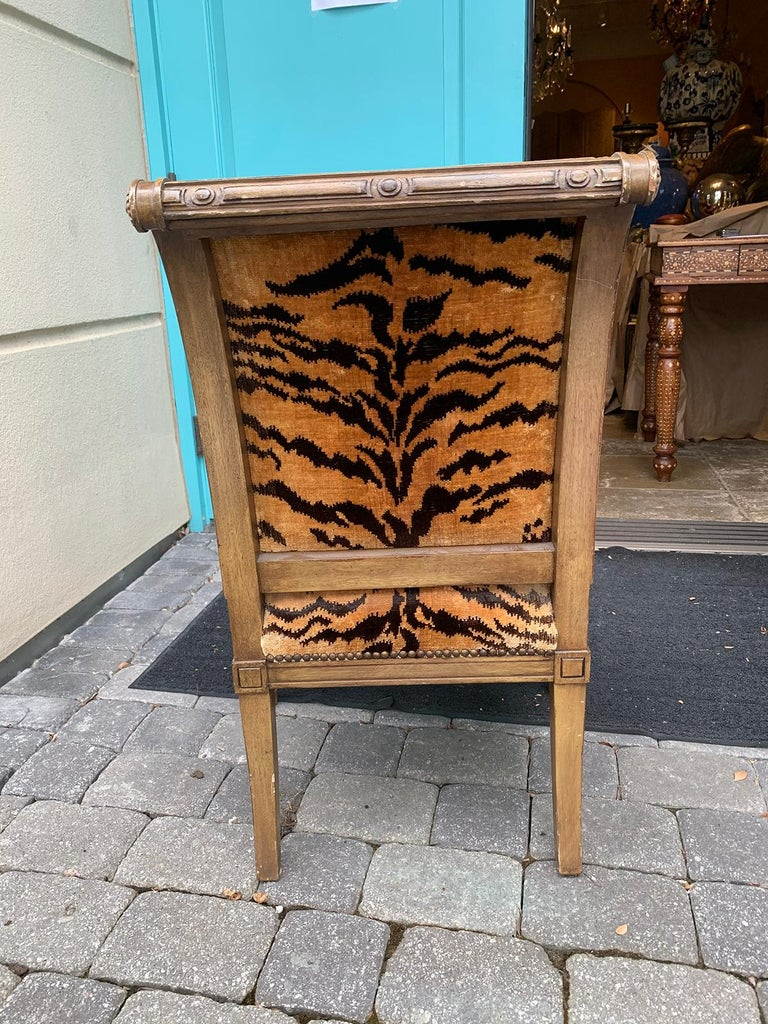20th Century Yale Burge Directoire Style Carved Armchair with Tiger Upholstery 16