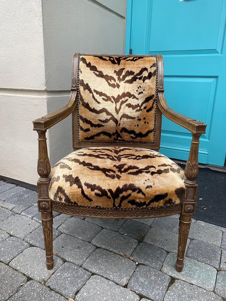 20th Century Yale Burge Directoire Style Carved Armchair with Tiger Upholstery In Good Condition In Atlanta, GA