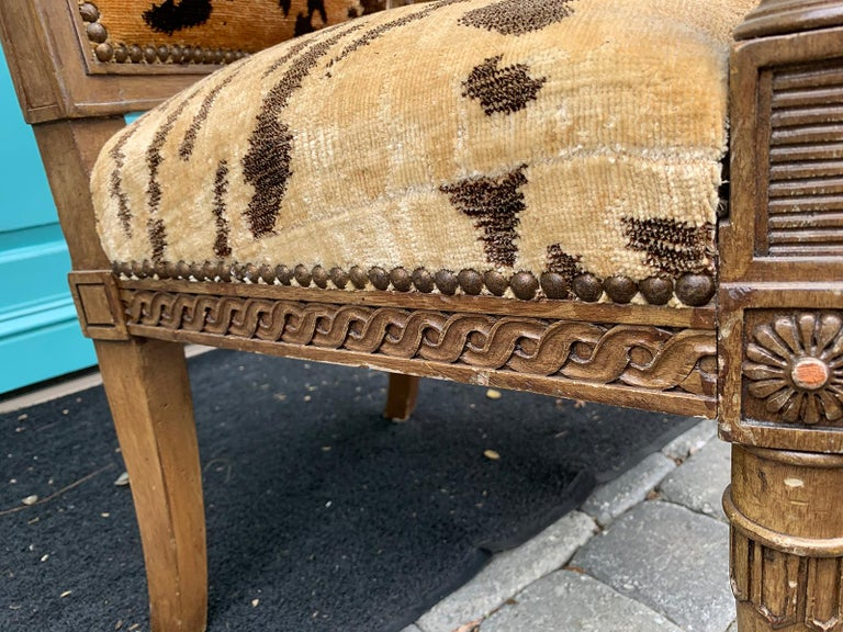 20th Century Yale Burge Directoire Style Carved Armchair with Tiger Upholstery 4