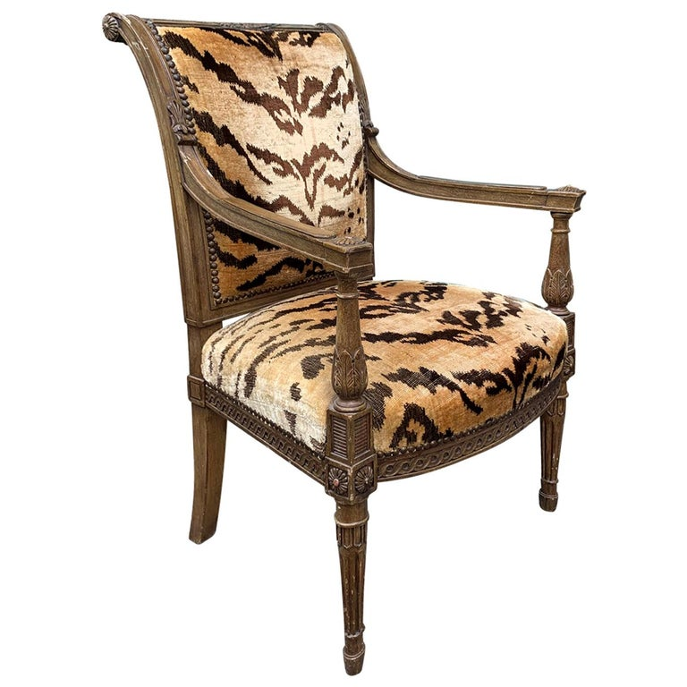 20th Century Yale Burge Directoire Style Carved Armchair with Tiger Upholstery