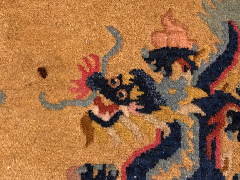 20th Century Yellow and Blue Wool Hand Knotted Chinese Dragoons Rug For Sale 5