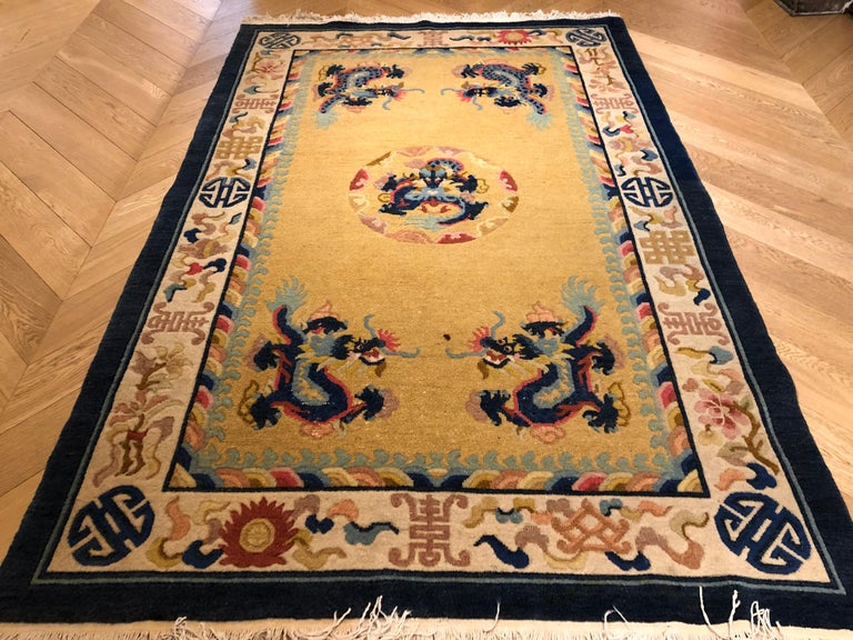 20th Century Yellow and Blue Wool Hand Knotted Chinese Dragoons Rug For Sale 9