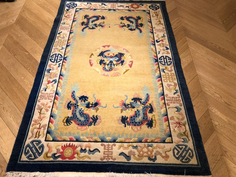 20th Century Yellow and Blue Wool Hand Knotted Chinese Dragoons Rug For Sale 10