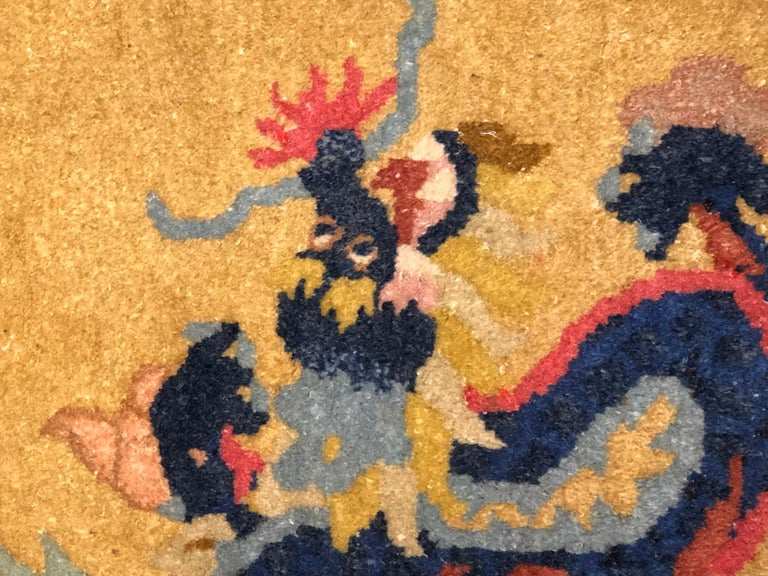20th Century Yellow and Blue Wool Hand Knotted Chinese Dragoons Rug For Sale 11