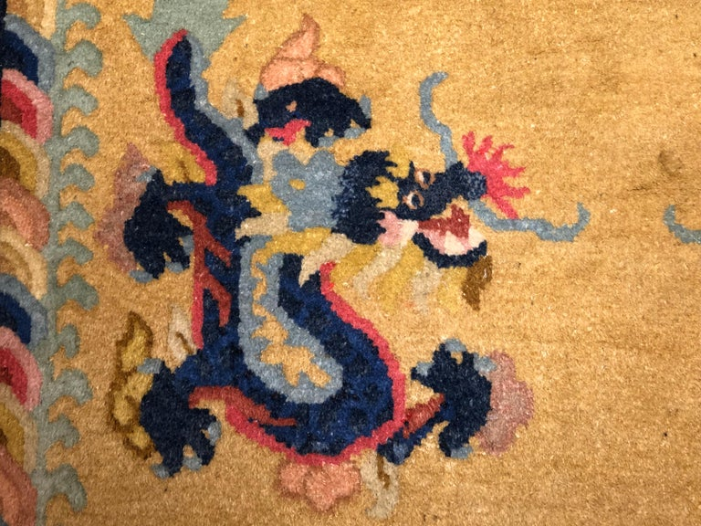 20th Century Yellow and Blue Wool Hand Knotted Chinese Dragoons Rug For Sale 13