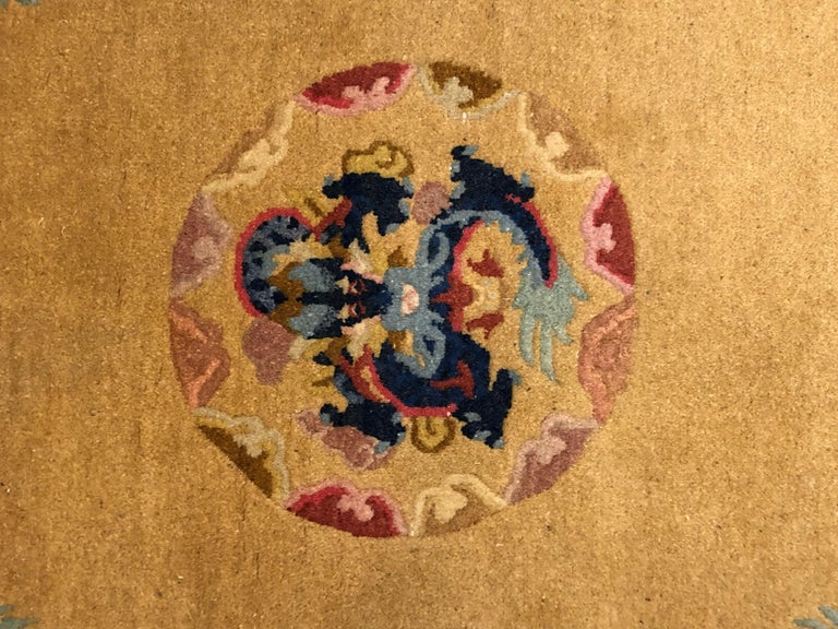 Chinoiserie 20th Century Yellow and Blue Wool Hand Knotted Chinese Dragoons Rug For Sale