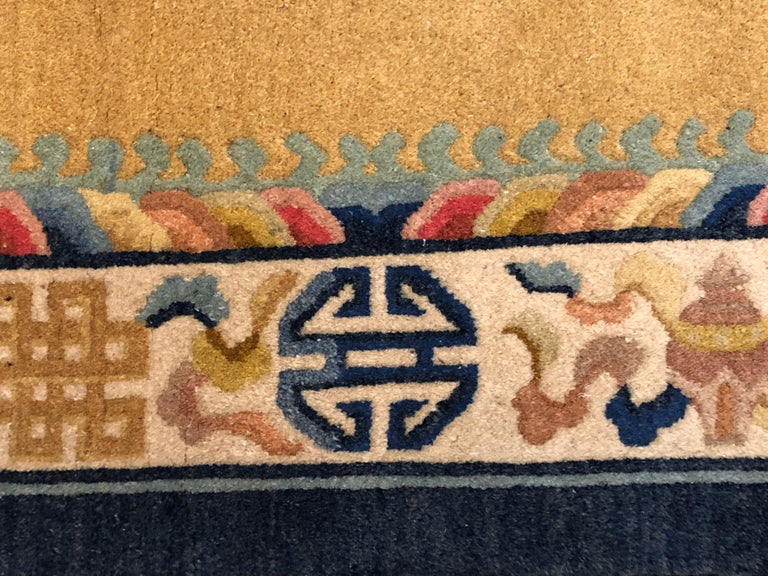 Hand-Knotted 20th Century Yellow and Blue Wool Hand Knotted Chinese Dragoons Rug For Sale