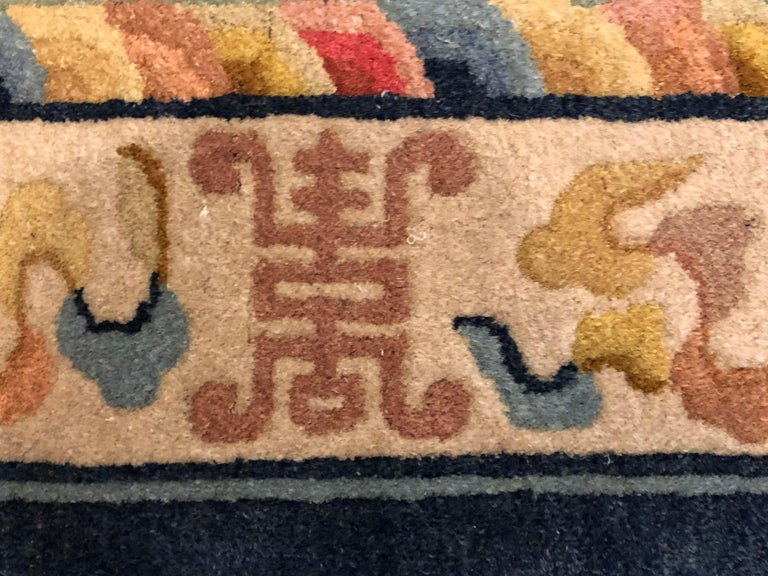 20th Century Yellow and Blue Wool Hand Knotted Chinese Dragoons Rug For Sale 1