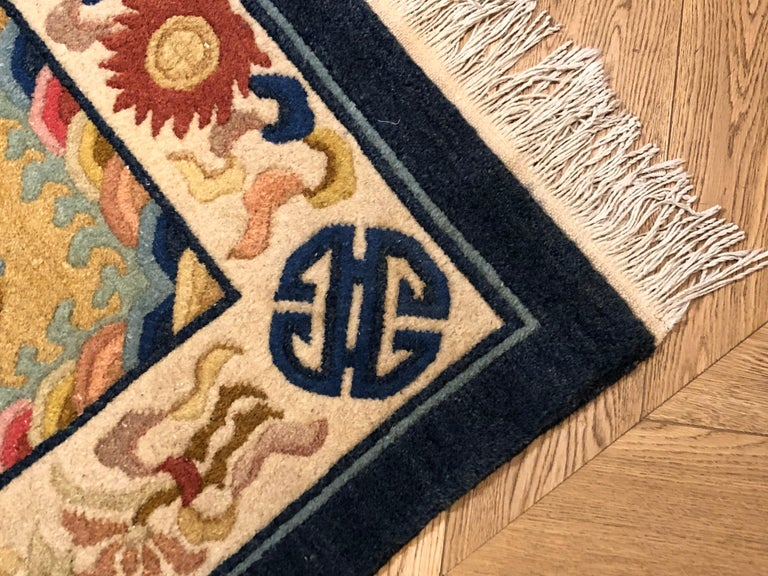 20th Century Yellow and Blue Wool Hand Knotted Chinese Dragoons Rug For Sale 2