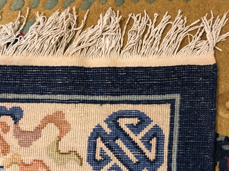20th Century Yellow and Blue Wool Hand Knotted Chinese Dragoons Rug For Sale 3