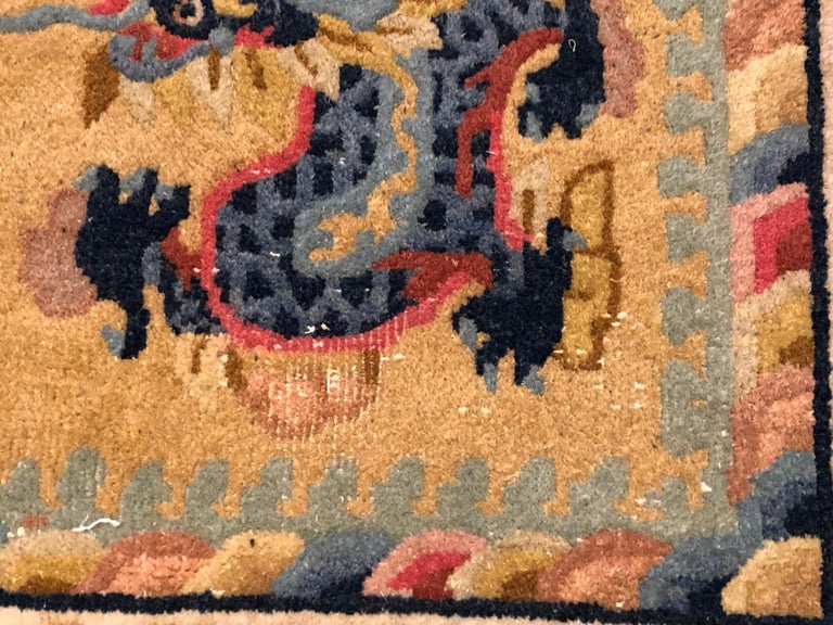 20th Century Yellow and Blue Wool Hand Knotted Chinese Dragoons Rug For Sale 4