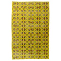 20th Century Yellow Floreal Turkish Art Deco Rug Designed by Zeki Muren, ca 1950