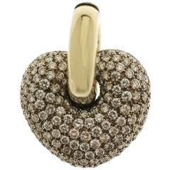 20th Century Yellow Gold and Diamond Heart Pendant
