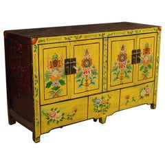 20th Century Yellow Lacquered Exotic Wood Chinese Sideboard, 1960