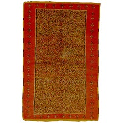 20th Century Yellow Orange in Wool Berber Tribal Hand-Knotted from Morocco Rug