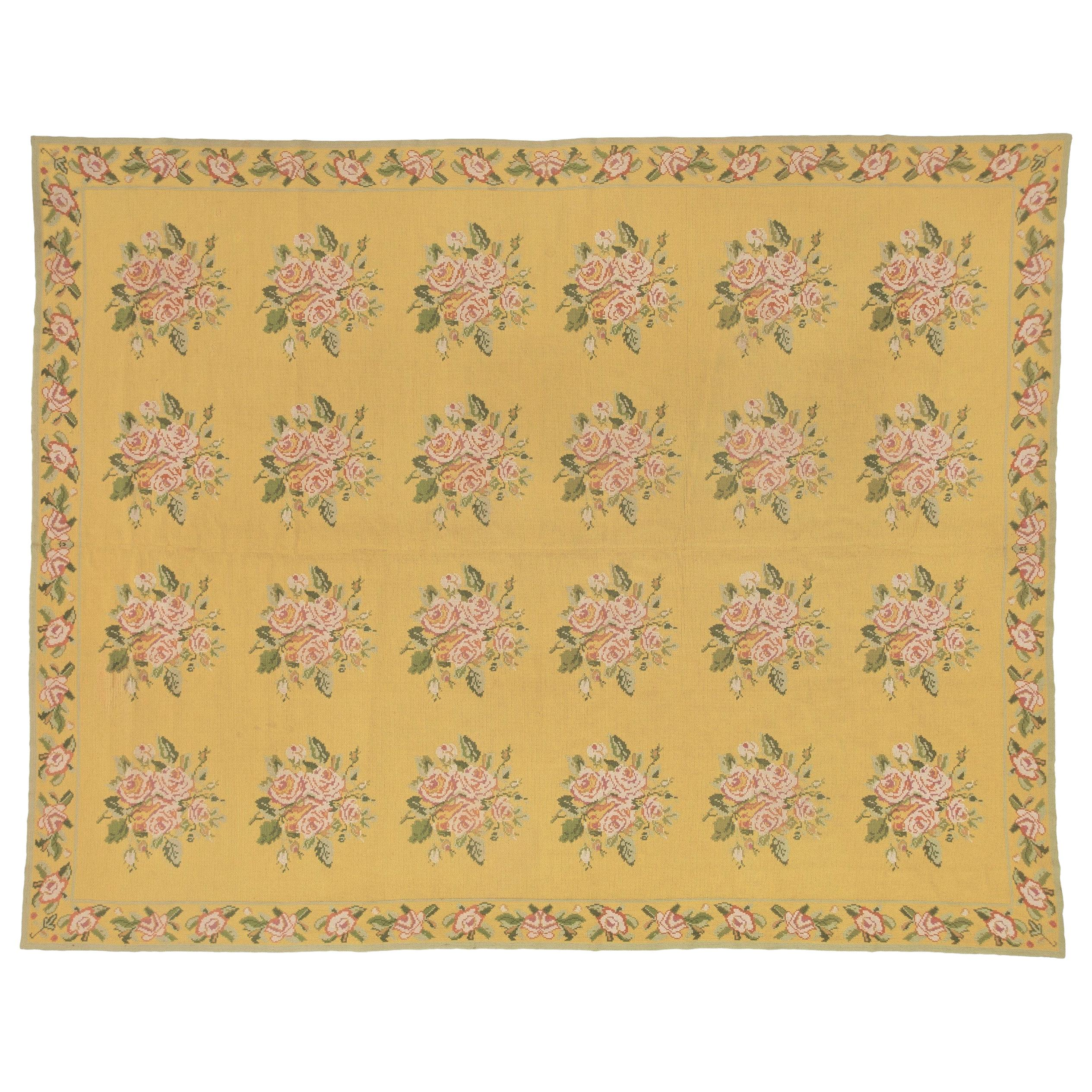 20th Century Yellow Pink Green Flowers Arraiolos Rug from Portugal, circa 1900s
