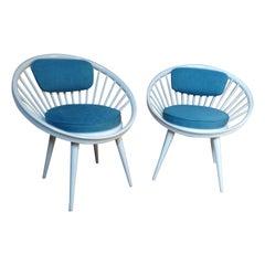 20th Century Yngve Ekström Designed for Swedese Retro 1960s Circle Chairs