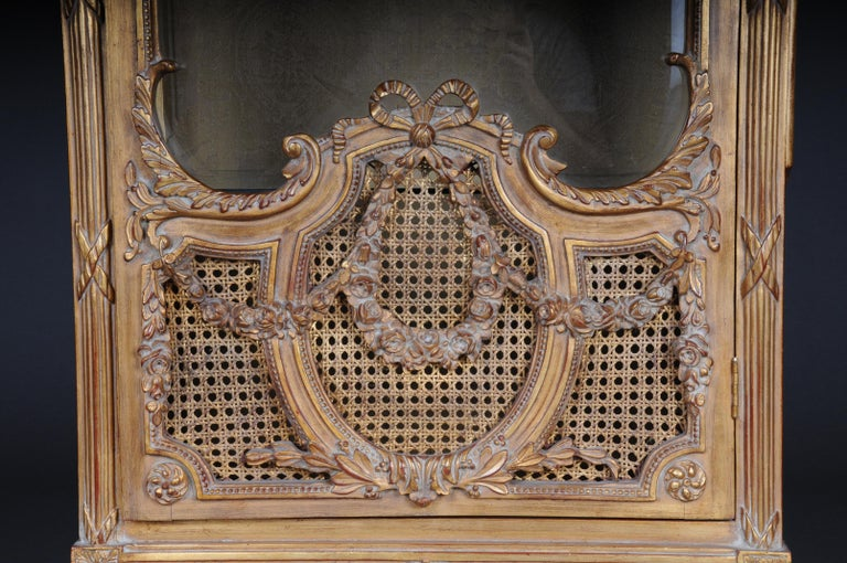 Gilt 20th Century Elegant French Showcase in Louis XVI Style For Sale