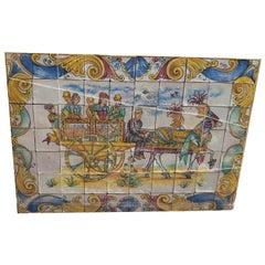 20th Cetury Sicilian Painted Majolica Panel