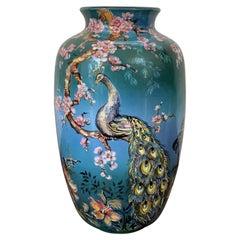 20th Colorful German Baluster Peacock Vase by Ulmer Keramik