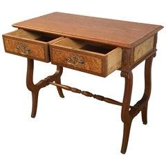 20th English Georgian Oak Two Drawers Lowboy or Desk with Lyre Legs