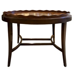 20th Century English Oval Tray Coffee Table with Scalloped Edge