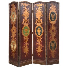 20th Century Four Panel Hand Painted Screen