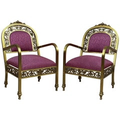 20th Century French Pair of Gold Brass and Bronze Armchairs with Red Upholstery