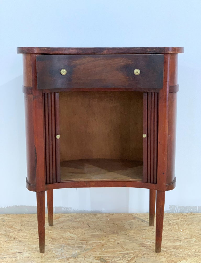 20th French Pair of Nightstands with Two Drawers and Sliding Doors For Sale 4