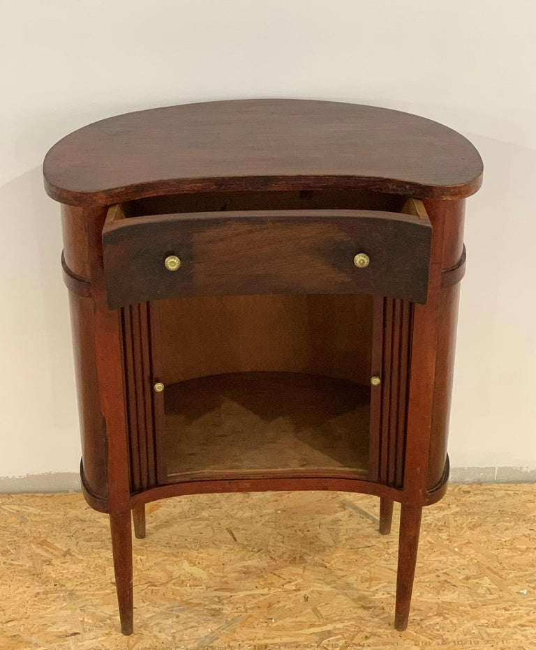 Wood 20th French Pair of Nightstands with Two Drawers and Sliding Doors For Sale