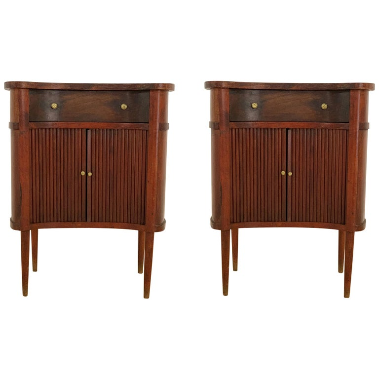 20th French Pair of Nightstands with Two Drawers and Sliding Doors For Sale