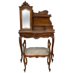 20th Century French Set of Marble-Top Walnut Dressing Table and Savonarola