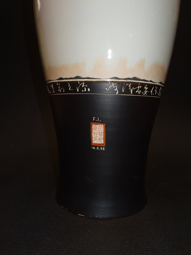 Late 20th Century 20th Century Great Black and White French Vase by Fabienne Jouvin For Sale